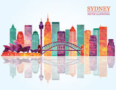 Sydney City skyline detailed silhouette