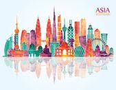 Asia skyline detailed silhouette Vector illustration