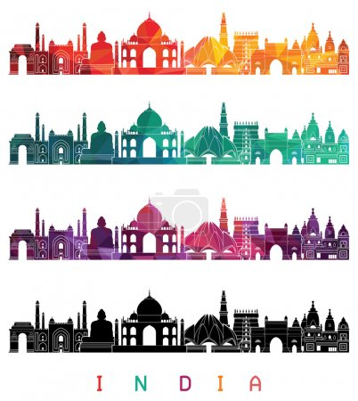 India skyline detailed silhouette