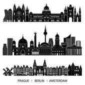 Skyline set of Prague Berlin Amsterdam Vector illustration