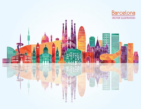 Barcelona skyline detailed silhouette