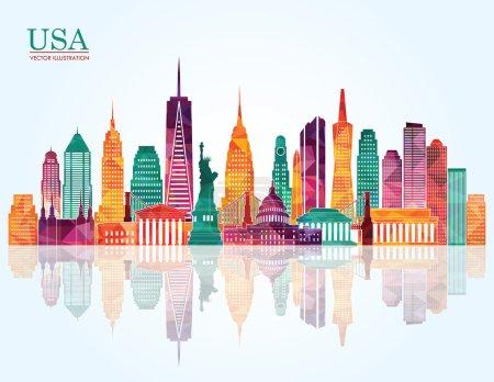 Illustration for USA skyline. Vector illustration - Royalty Free Image