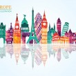 Europe skyline detailed silhouette. Vector illustr...