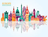 Europe skyline detailed silhouette Vector illustration