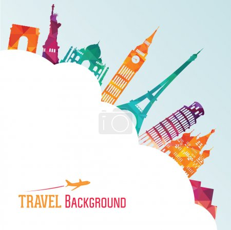 Illustration for Travel and tourism background. Vector illustration - Royalty Free Image