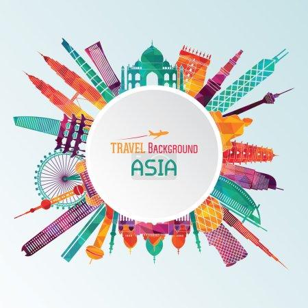 Illustration pour Illustration vectorielle de monuments touristiques célèbres d'Asie - image libre de droit