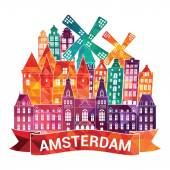 Amsterdam skyline city Vector illustration