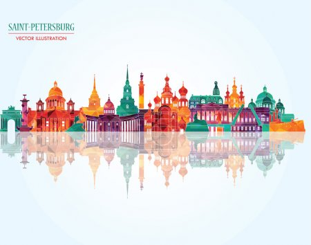 Illustration pour Saint-Pétersbourg horizon détaillé de la ville. Illustration vectorielle - image libre de droit