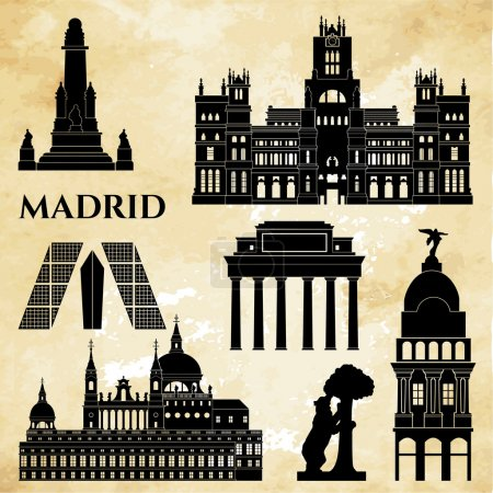 Madrid monuments detailed silhouette.