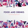 Vector background. Food and drinks...