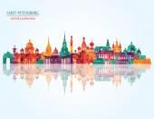Saint Petersburg detailed city skyline