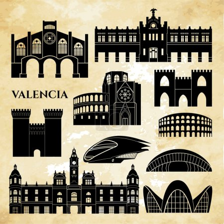 Valencia monuments detailed silhouette.