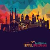 Barcelona skyline silhouette Vector illustration