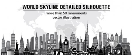 World skyline detailed silhouette.