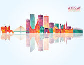 Warsaw detailed skyline vector illustration