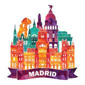 Madrid skyline illustration