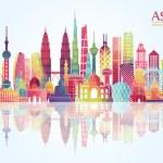 Asia skyline detailed silhouette. Vector illustrat...