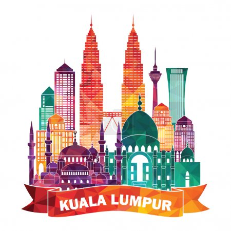 Illustration for Kuala Lumpur detailed silhouette. Vector illustration - Royalty Free Image