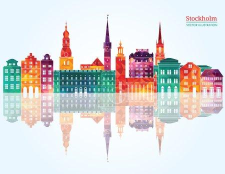 Stockholm detailed skyline.