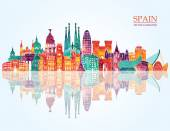 Spain detailed skyline vector illustration