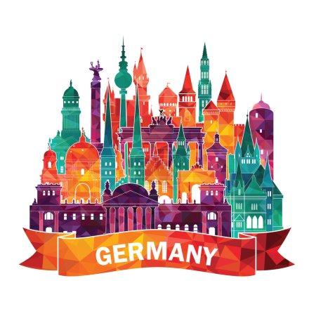 Travel Germany famous landmarks skyline.