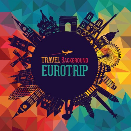Illustration for Europe skyline silhouette. Vector illustration - Royalty Free Image