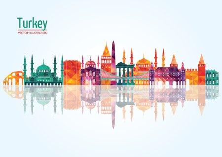 Illustration pour Turquie horizon détaillé. Illustration vectorielle - image libre de droit