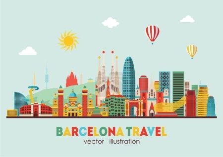 Barcelona skyline detailed silhouette.
