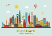 China detailed skyline