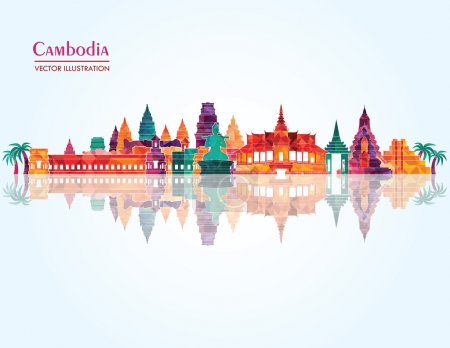 Cambodia detailed skyline