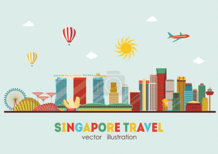 Singapore skyline travel concept