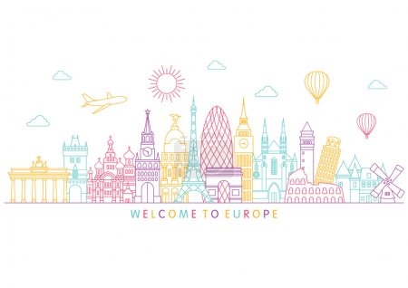 Illustration for Europe skyline detailed silhouette. Vector background. line illustration. Line art style - Royalty Free Image