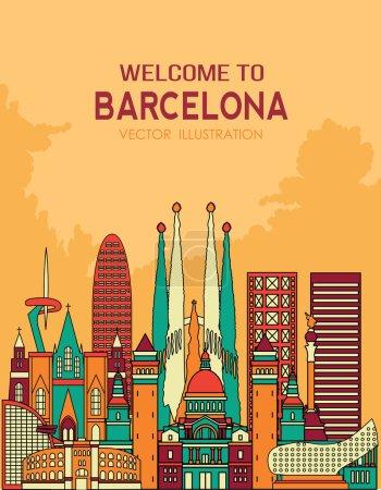 Barcelona skyline detailed silhouette