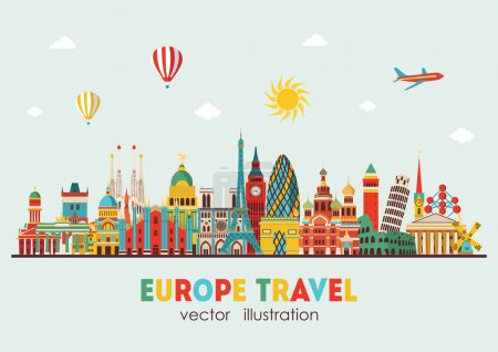 Illustration for Europe skyline detailed silhouette. Vector illustration - Royalty Free Image