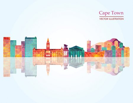 Illustration for Cape Town South Africa detailed skyline. Vector illustration - Royalty Free Image