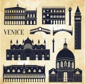 Venice detailed monuments silhouette Vector illustration