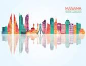 Manama detailed skyline