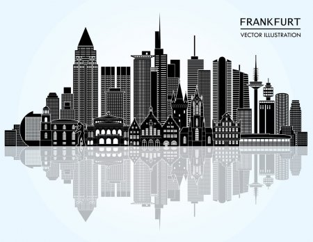 Illustration for Travel Frankfurt famous landmarks skyline. Vector illustration - Royalty Free Image