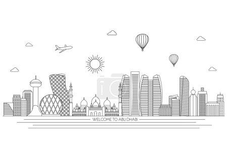 Abu Dhabi detailed skyline. Travel and tourism background. Vector background. line illustration. Line art style