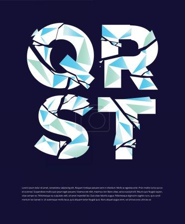 Typographic broken alphabet letters