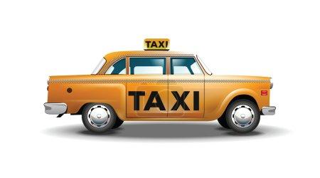 Illustration pour Illustration vectorielle abstraite de taxi urbain soigneusement conçue dans un style de dessin animé - image libre de droit