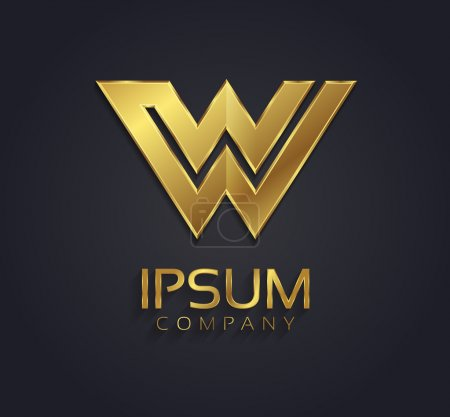 Beautiful vector graphic gold alphabet letter W symbol