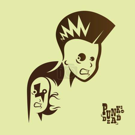 Graficzny ilustracja punk dzieci z znak