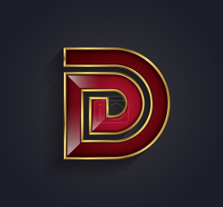 Beautiful vector graphic ruby alphabet with gold rim letter D symbol