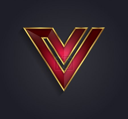 Beautiful vector graphic ruby alphabet with gold rim letter V symbol