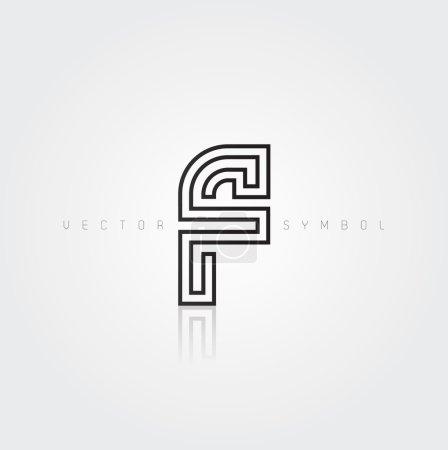 Graphic creative line letter F