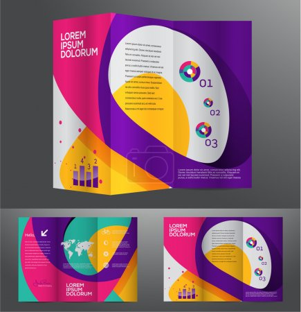 Illustration for Vector graphic elegant abstract business brochure design with spread pages - Royalty Free Image