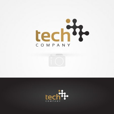 Illustration for Vector graphic geometric tech symbol in gold and grey - Royalty Free Image