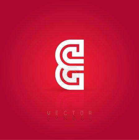 Graphic creative line letter E