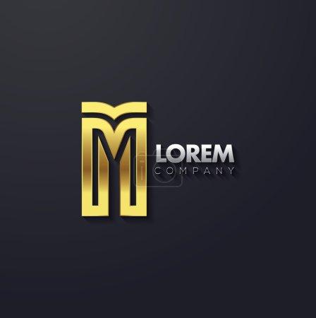 Elegant golden letter M